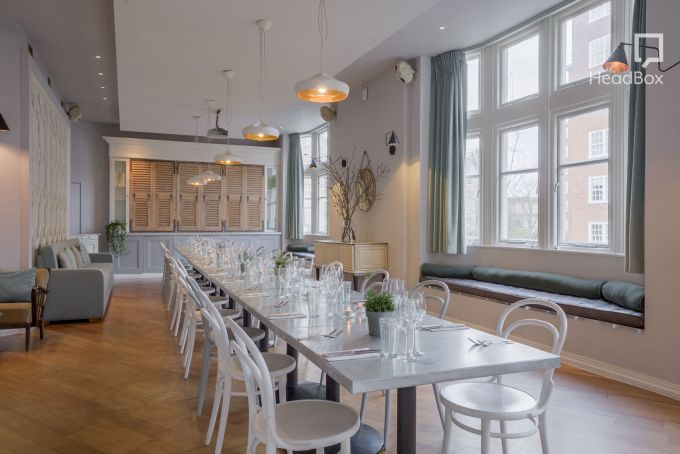 dining room with white tables