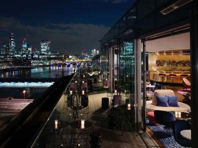 rooftop bar at night overlooking London