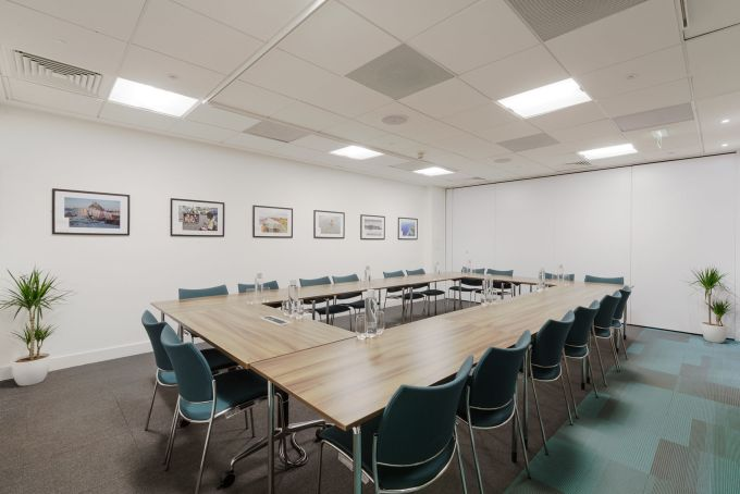 meeting room with square brown table