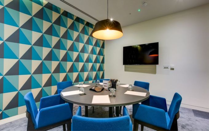 funky meeting room with geometric design