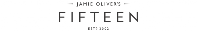 a white background logo with black text that reads 'Jamie Oliver's Fifteen estd 2002'