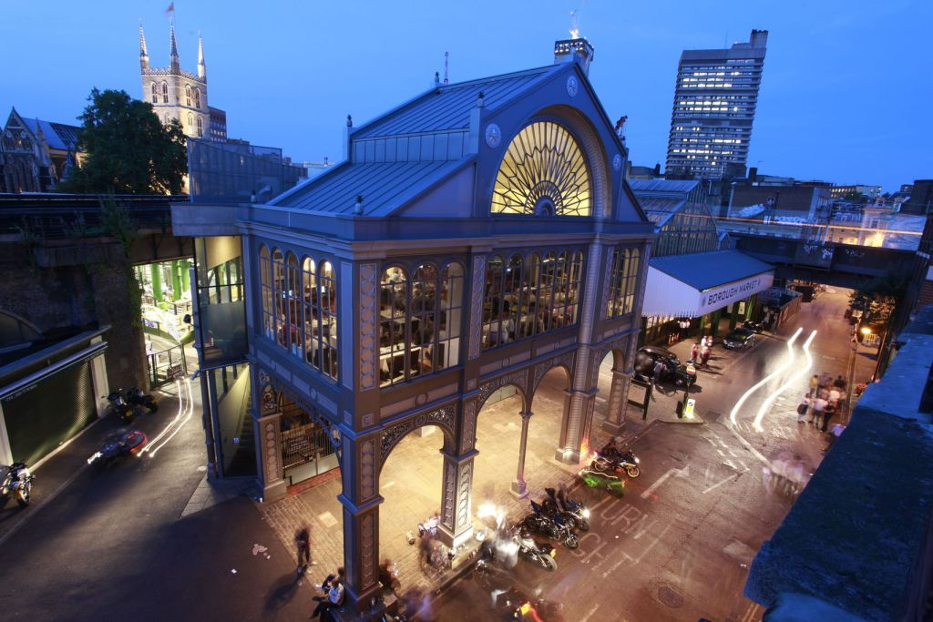 An aerial shot of Roast Restaurant that sits above Borough Market