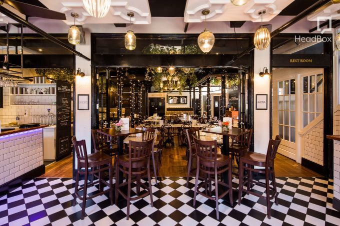 restaurant Space with chequered flooring,