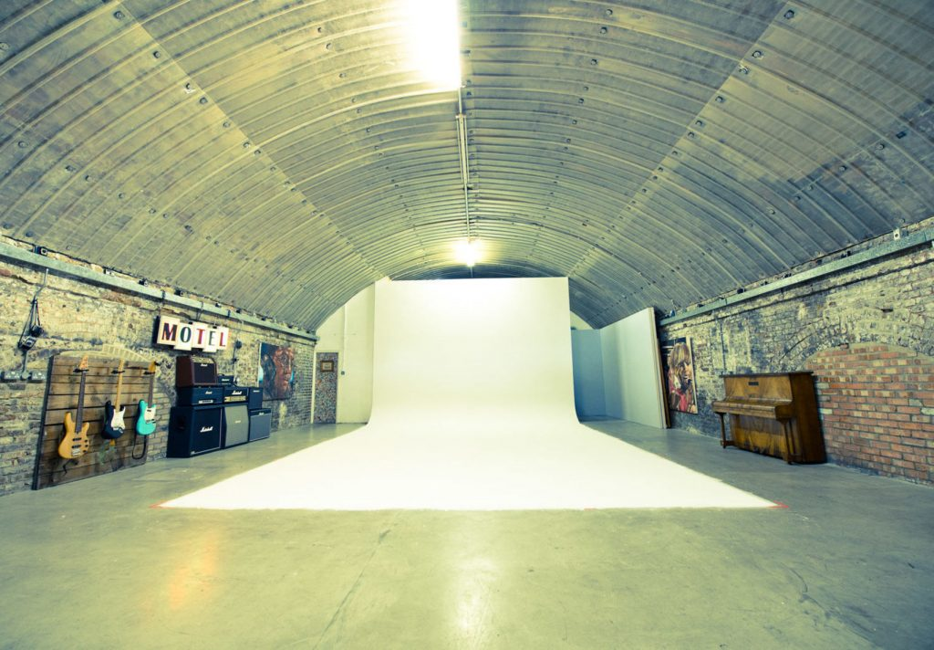 large warehouse with metal curved roof