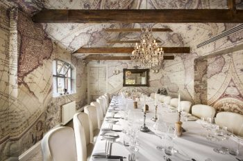 retro covered atlas walled dining room