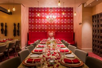 red themed dining room masala zone