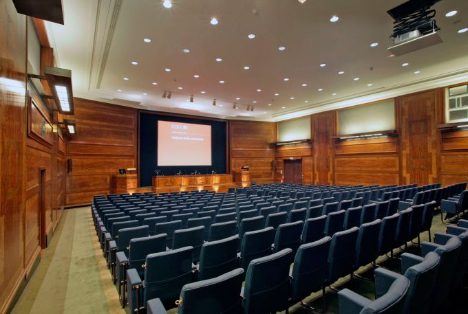 wooden conference rooms with blue chairs