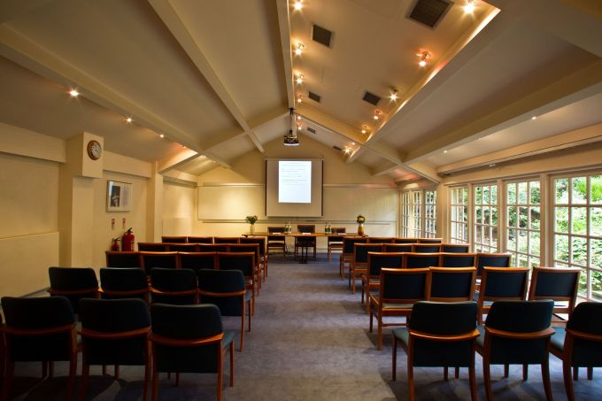 conference room with slanted roof