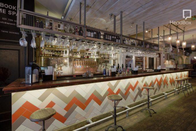 london bar with zig zag tiles