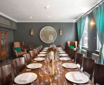 long dining table at groucho club