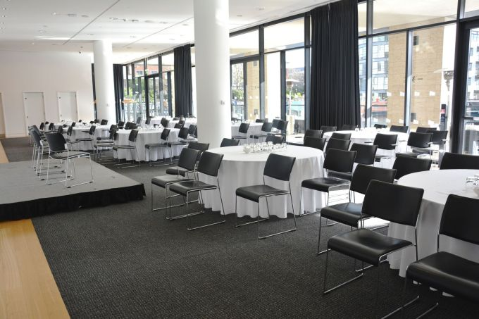 conference room with black carpet