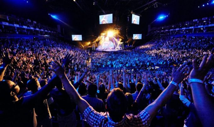 large crowd in the o2 arena