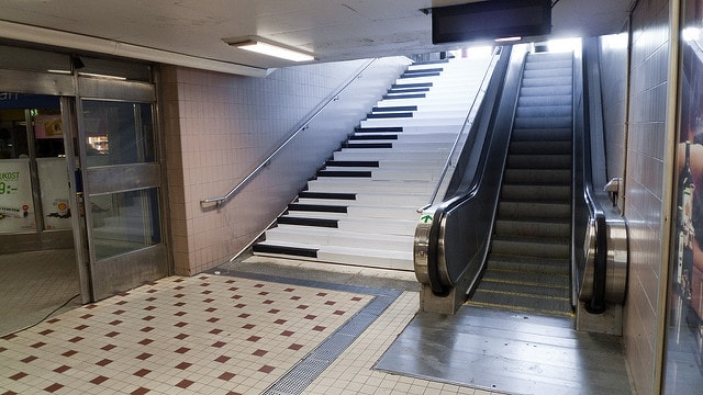 piano stairs and an escalator