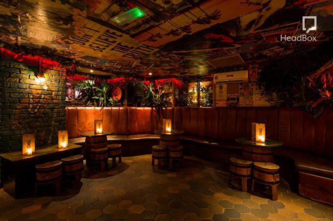 dimly lit bar with brickwork walls