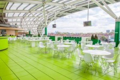 roof terrace with green tiled floor