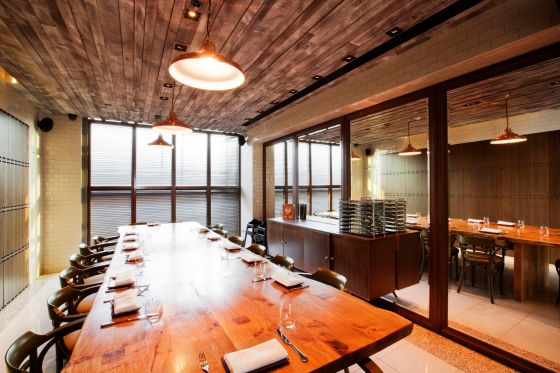 dining room at duck and waffle.