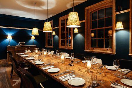 dim lit private dining venue