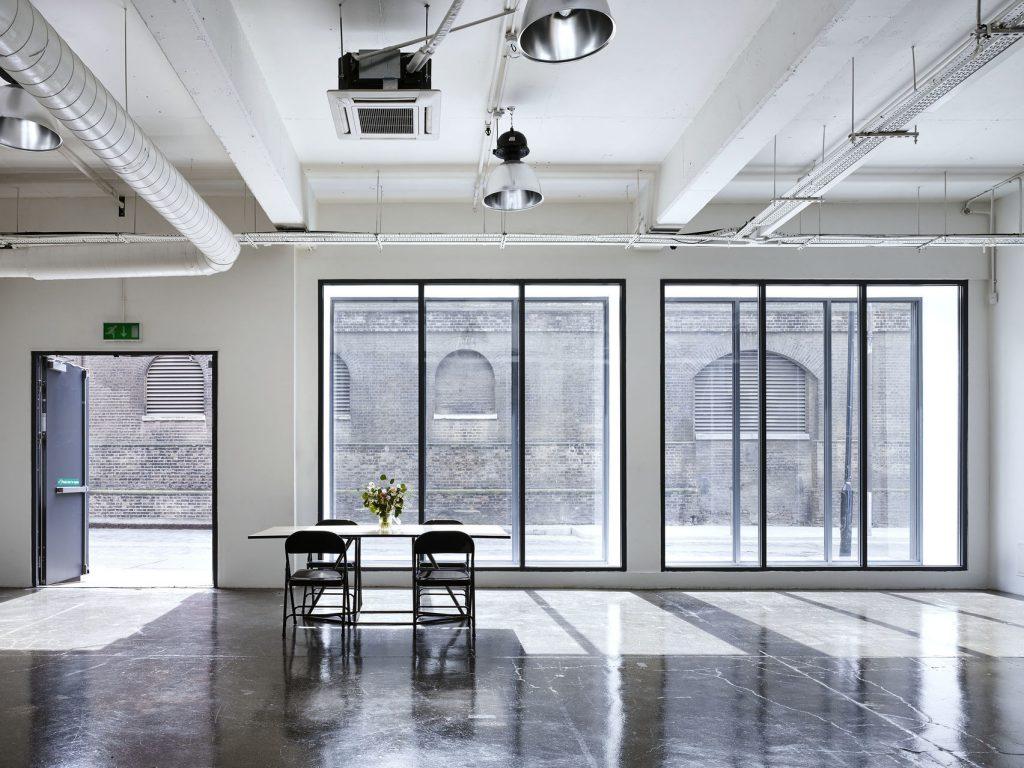 studio with floor to ceiling windows