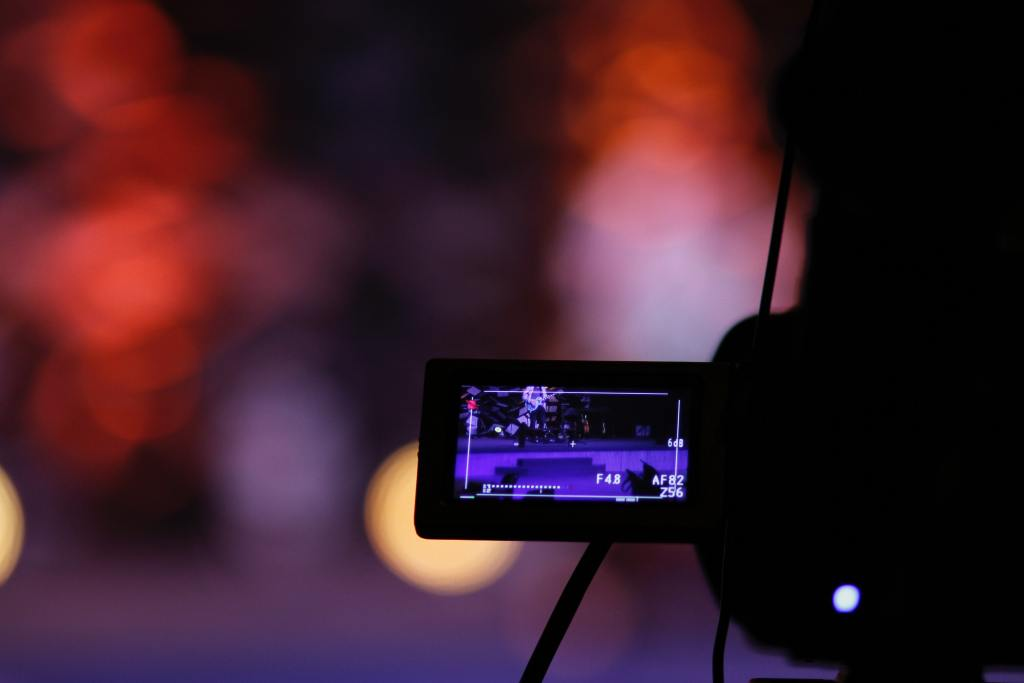 A close up shot of a video camera