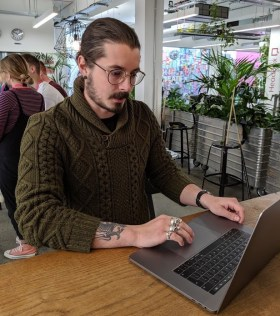 A man on his computer