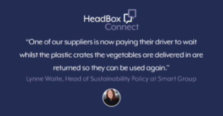 """A purple image that says : 'one of our suppliers is now paying their driver to wait whilst the plastic crates the vegetables are delivered in are returned so they can be used again."""""""