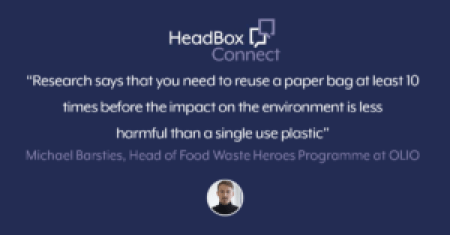 A purple image with a quote over the top that says: research says that you need to reuse a paper bag at least 10 times before the impact on the environment is less harmful than a single use plastic.