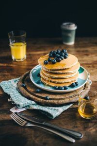 Vegan pancakes with blueberries