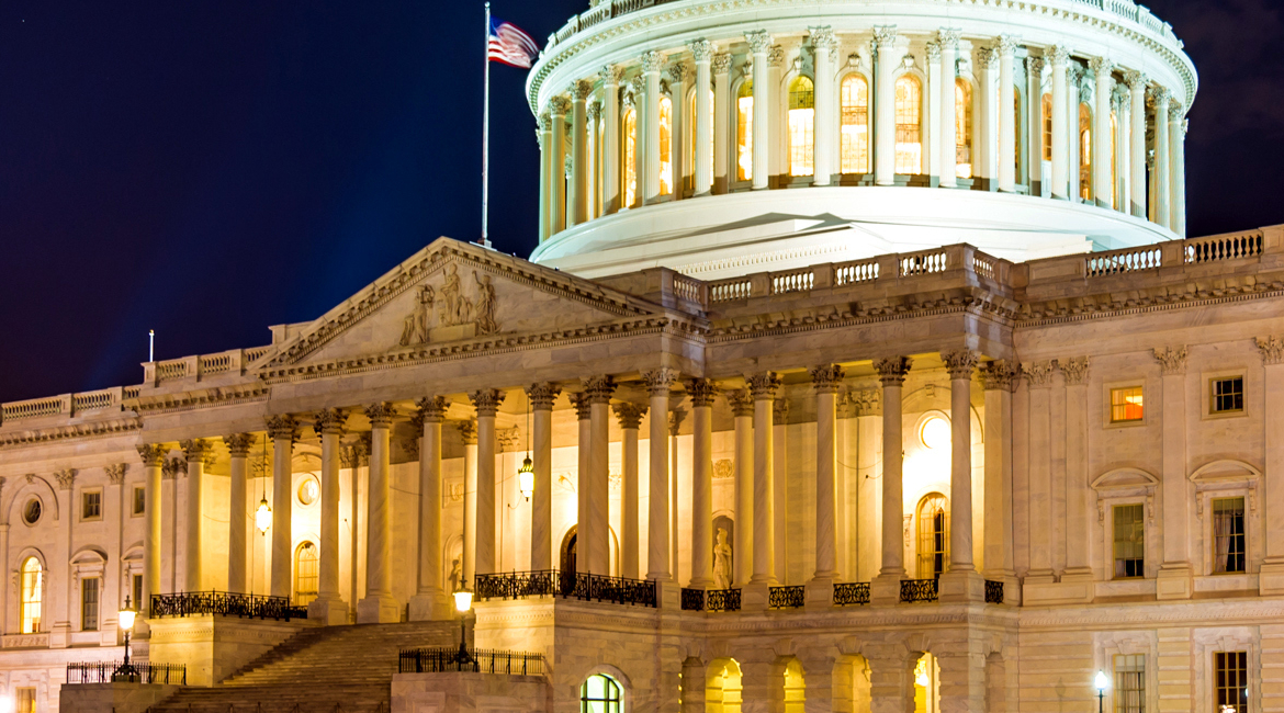 US Capitol Building at night in Washingon, DC, USA