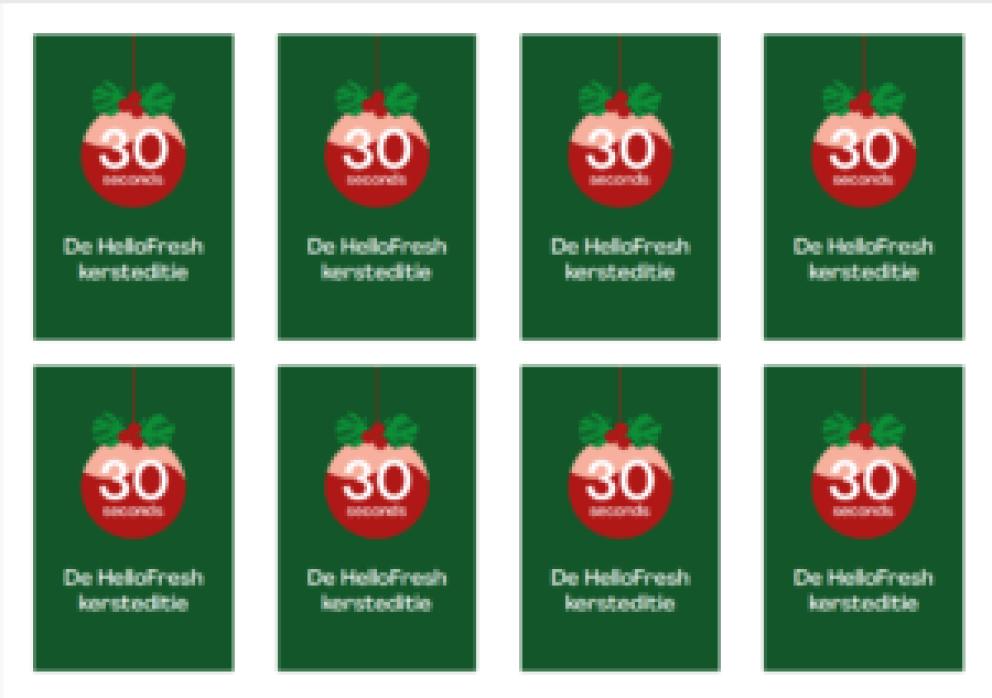 30 seconds HelloFresh kerst