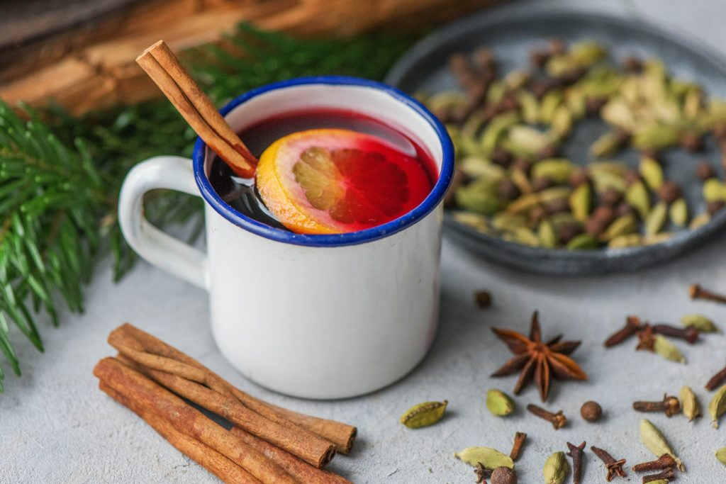 clementine mulled wine with holiday spices