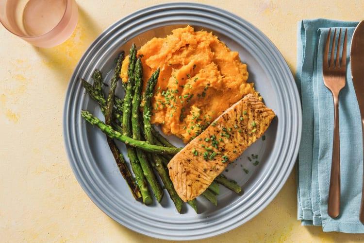soy-maple glazed salmon with asparagus and sweet potato mash recipes