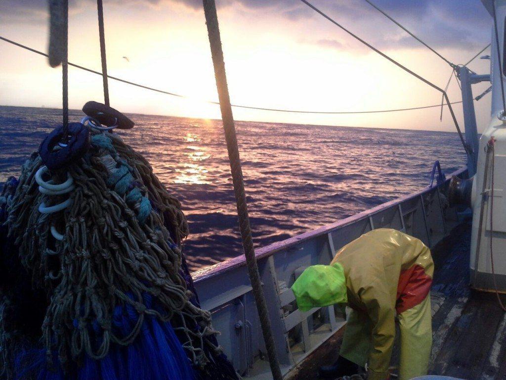 Hard aan het werk op zee