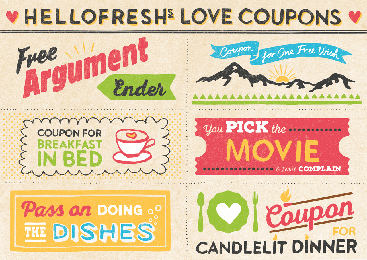 image regarding Printable Luv Coupons known as Our Cuter-than-Lovely Printable Get pleasure from Discount codes HelloFresh Food items