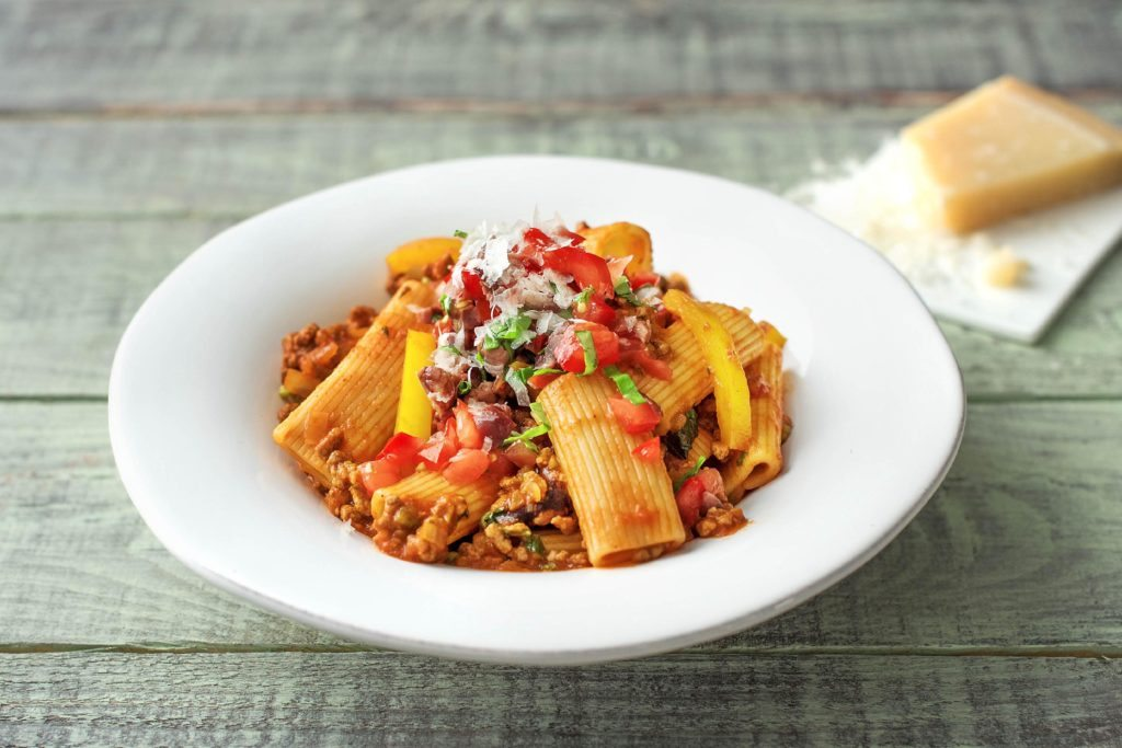 How to cook minced beef: Beef Ragout with Rigatoni, Black Olive and Tomato Salsa