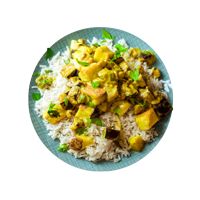 Aubergine and Paneer Curry with Cinnamon Rice