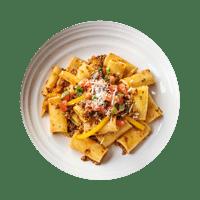 Beef Ragout Rigatoni with Black Olive & Tomato Salsa