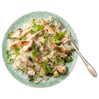 Chermoula and Yoghurt Marinated Chicken with Zesty Courgette Pilaf