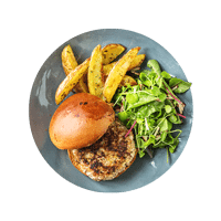 Pork and Apple Burger with Rosemary Chips