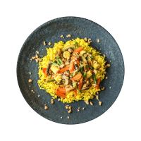 Coconutty Veggie Curry with Yellow Rice and Peanuts