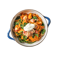 Tomatoey Spinach Quinoa Curry with Gooseberry and Mustard Chutney and Cooling Yoghurt