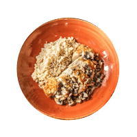 Pan-Roasted Chicken with Dijon Mushroom Sauce and Brown Rice