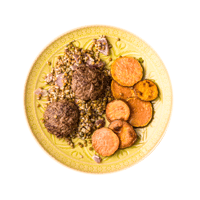 Lamb Patties with Yoghurty Lentils and Sweet Potato Discs