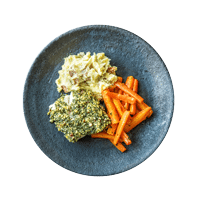 Nutty Crusted Haddock with Roasted Carrots and Mash