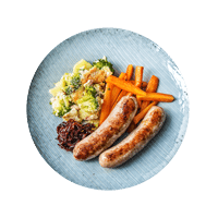 Oven-Baked Sausages with Broccoli & Potato Gratin and Glazed Carrots