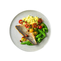 Pan-Fried Sea Bass with Golden Saffron Mash, Piquant Chorizo Salsa and Sugar Snap Peas