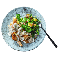 Pan-Fried Turkey Steak with Mushroom Sauce and Pancetta Roasties