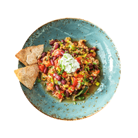 Spicy Sausage Chilli with Homemade Tortilla Chips