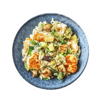 Zahtar Spiced Halloumi with Grilled Aubergine Orzotto