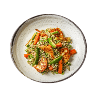 Buckwheat Tabbouleh with Halloumi and Dukkah Roast Veggies