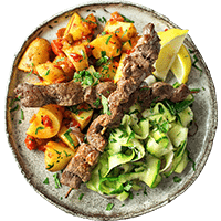 Beef Steak with Romesco Potatoes & Grilled Zucchini